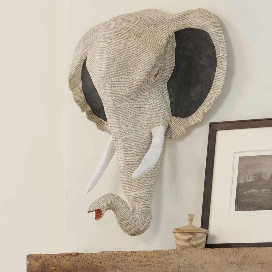 Papier mache elephant head