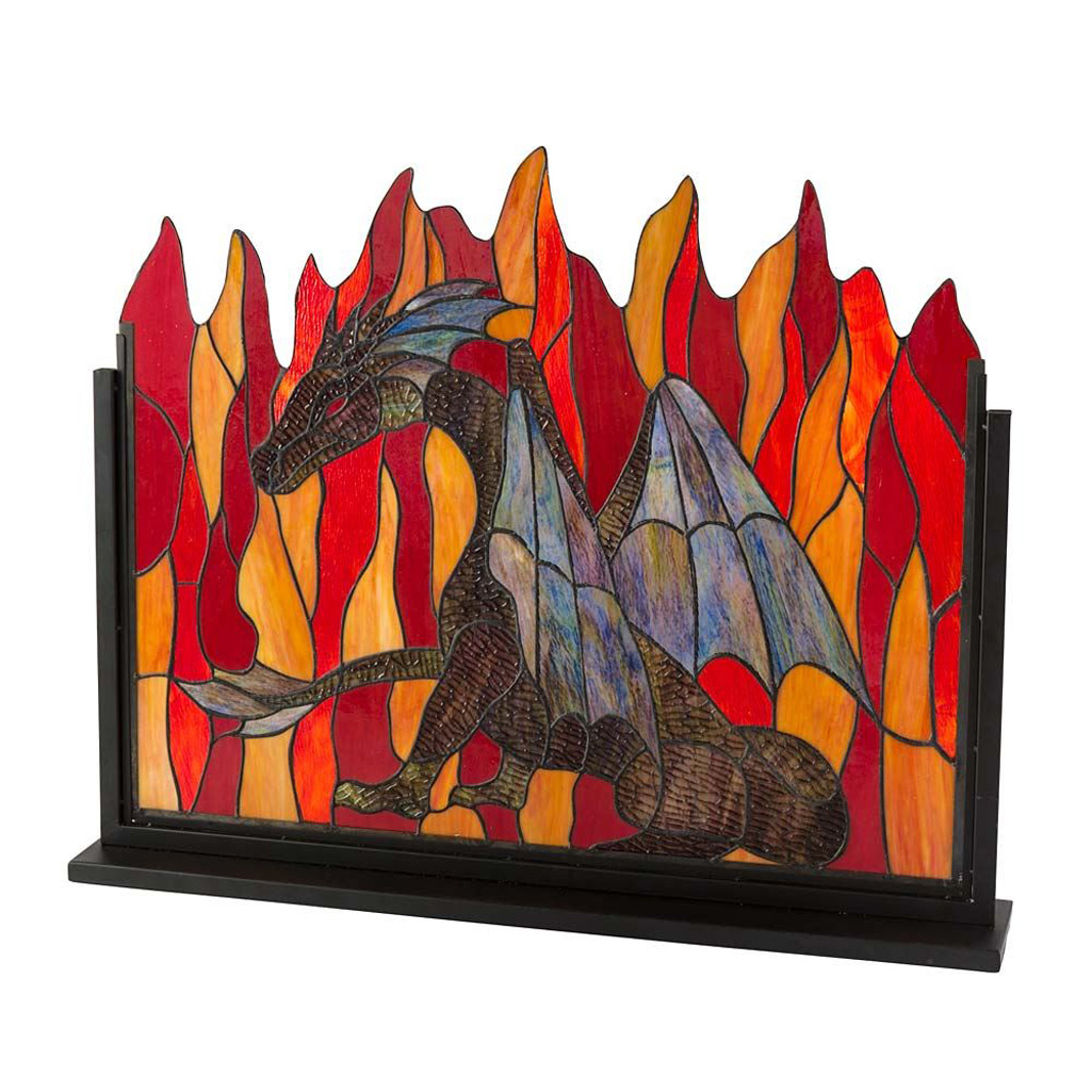 Stained Glass Dragon Fireplace Screen