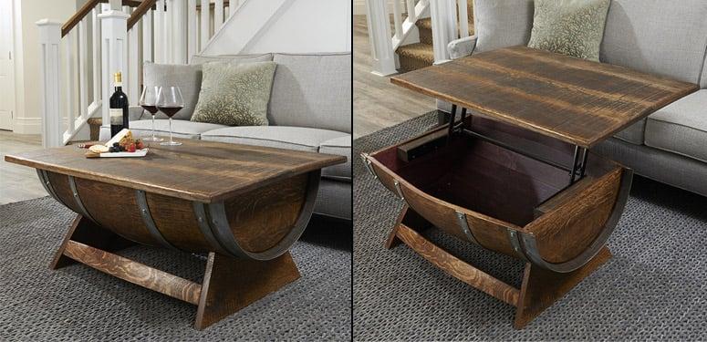 lift top reclaimed wine barrel coffee table