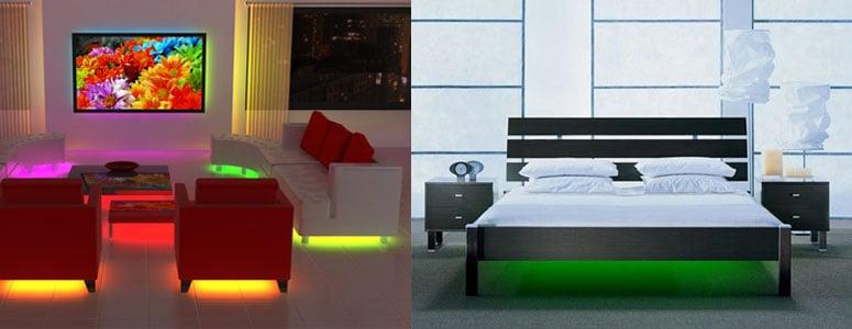 lit under furniture mood lighting the green head