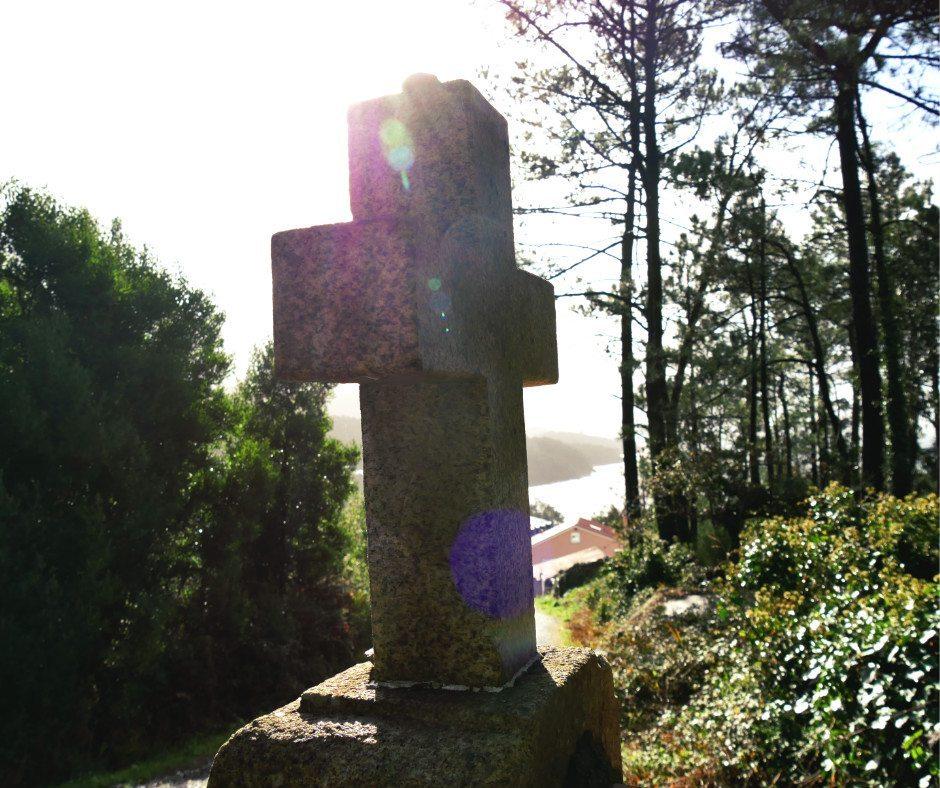 camino the santiago route of santiago de compostela cross upon arrival in Cee