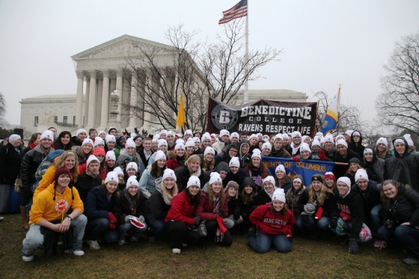 At long last, Benedictine College marchers reach their destination: The Supreme Court.