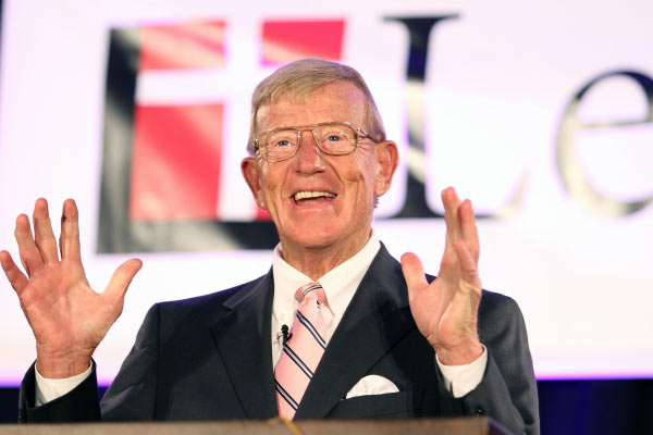 "Lou Holtz (1937- ) the legendary Notre Dame football coach is the only football coach to lead six different programs to bowl games and four to the final top 20. After 50 plus years of marriage, he says prayer ""kept our family together."""