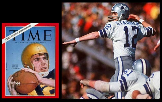 "Roger Staubach (1942- ), an active Catholic, is one of the 50 best NFL players of all time. In the 1975 playoffs, he threw a 50-yard bomb and said he prayed a Hail Mary it would be caught. To this day, such passes are ""Hail Marys""."