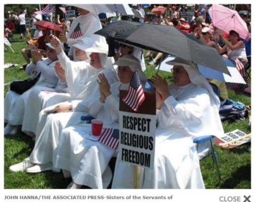 Screenshot of an AP photo of religious sisters at the Topeka, Kansas, Rally for Freedom.