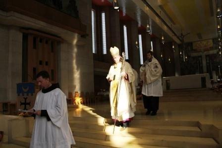 Kansas City, Kan., Archbishop Joseph Naumann at St. Benedict's Abbey for the Benedictine College All-School Mass.