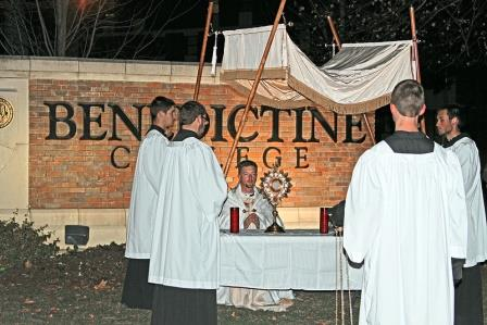 November 24: To end the Year of Faith on the feast of Christ the King, Benedictine College held a Eucharistic Procession through campus.