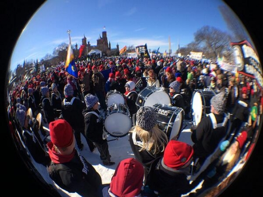 Benedictine College's drum-line marched (and drummed) for life. (Catholic Courier photo/Mike Crup)