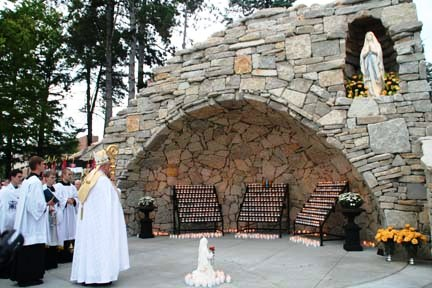 Archbishop Naumann dedicated Mary's Grotto on Sept. 11, 2009. (Photo by Megan Bickford)