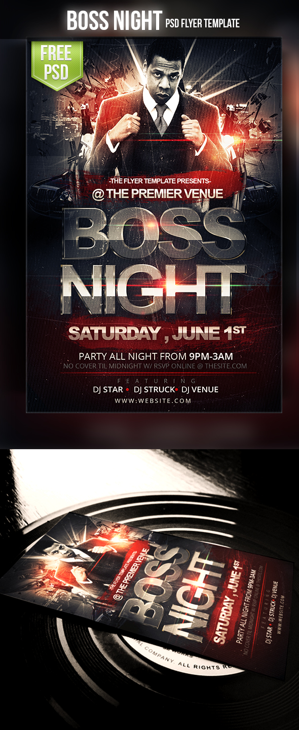 Free Flyer Templates for Photoshop and Word   The Grid System Boss Night Flyer
