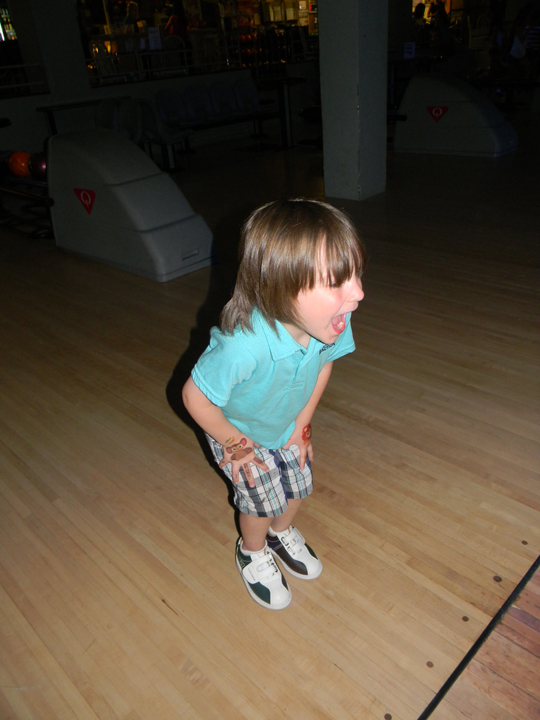Conor managed to throw 3 gutterballs, WITH BUMPERS UP!