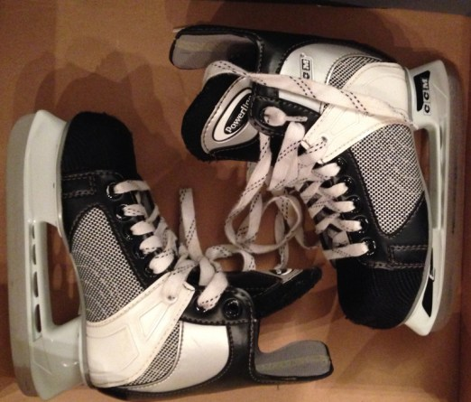 Some skates for the outdoor rink right down the street