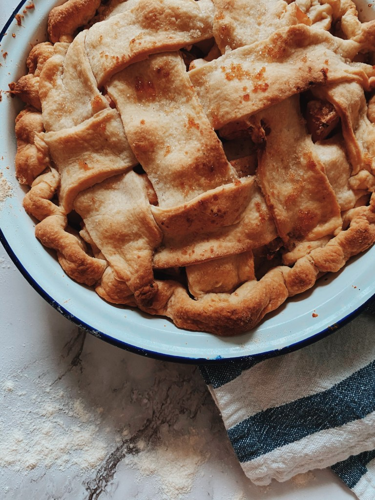 Apple Pie in and Enamel dish