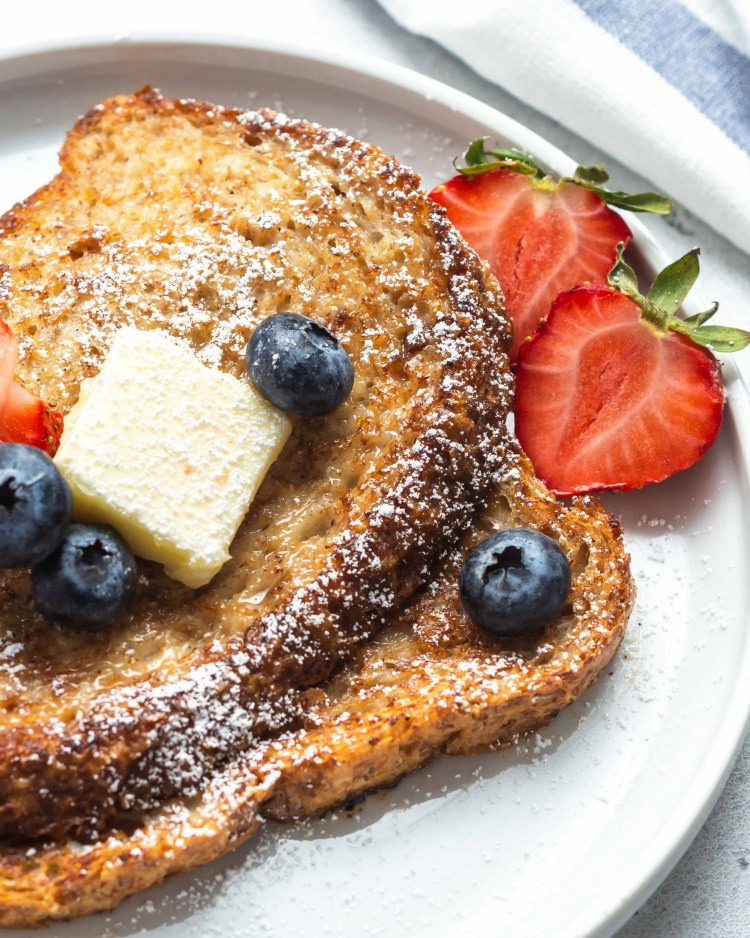 vegan french toast with berries on top