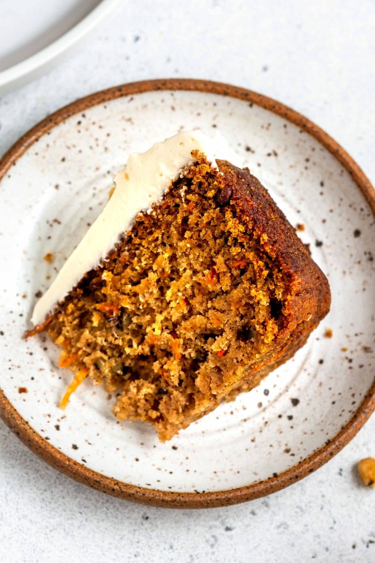 vegan carrot cake slice on a plate