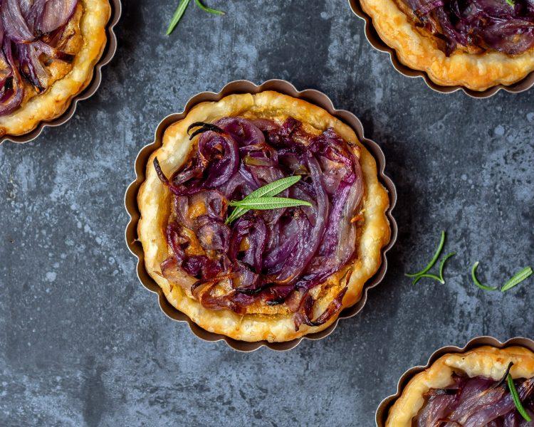 vegan onion tartlets