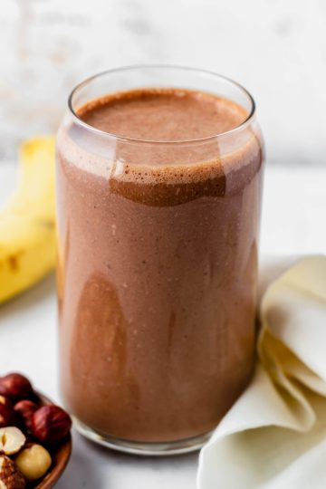 protein chocolate smoothie in a glass