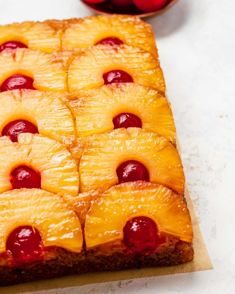 back light photography of pineapple upside down cake