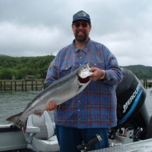 Rich Slusher from San Francisco with a upper Tillamook Bay spring Chinook caught on a spinner.