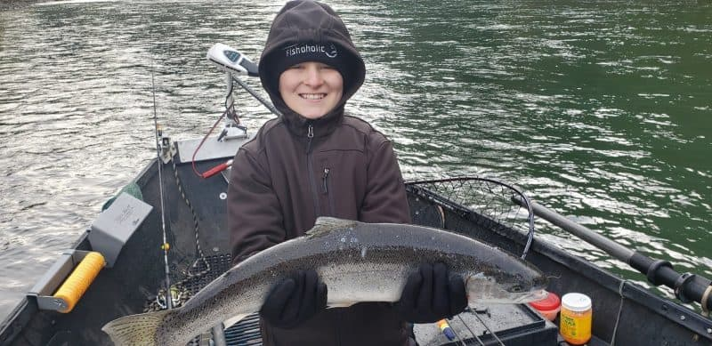 Victoria Gaskill had a steelhead on her bucket list for son Carter, both of Minneapolis, MN. They struck chrome on tax day, fishing the Wilson River with pro guide Rob Gerlitz.