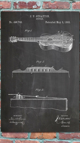 Stratton Acoustic Guitar Patent Print