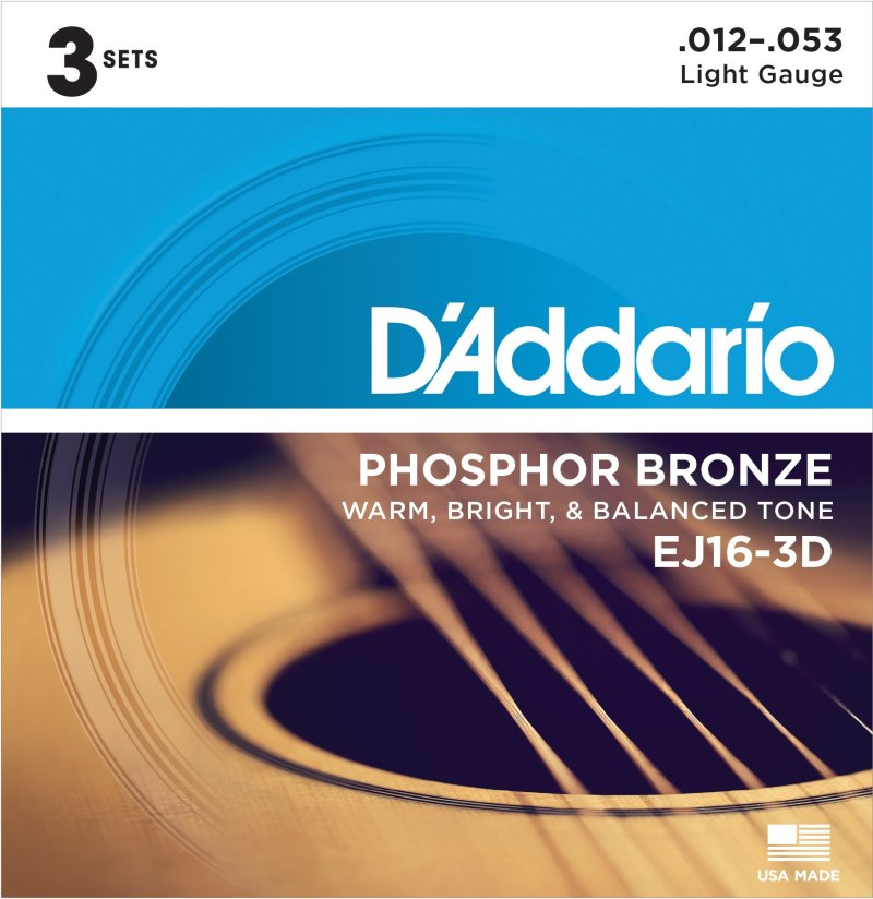 Product Image of D'Addario EJ16-3D Phosphor Bronze Acoustic Guitar Strings, Light Tension