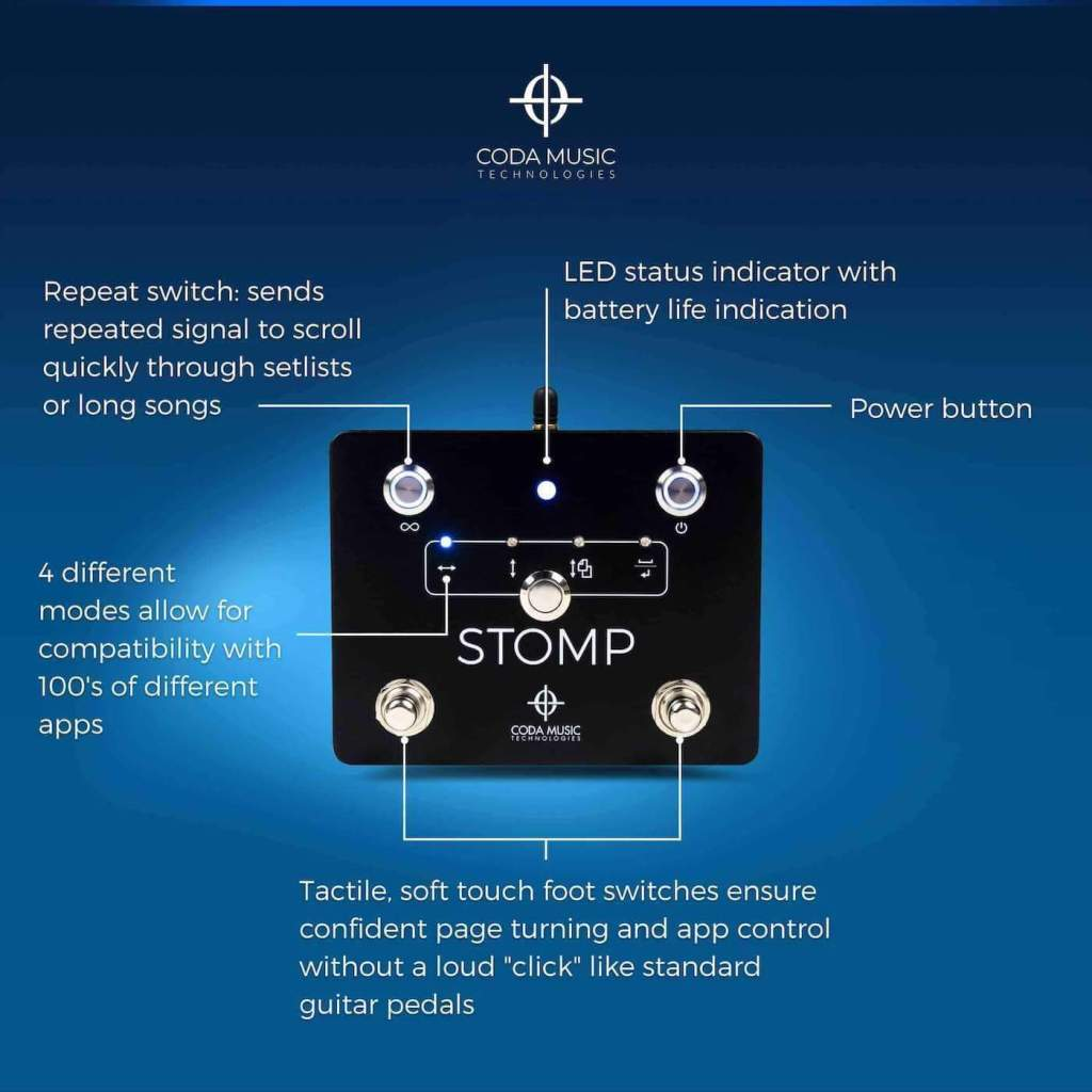 Diagram of STOMP Bluetooth 4.0 foot switch settings