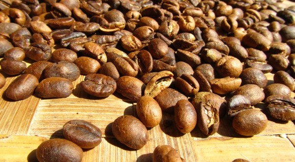 Roasted coffee beans (Dark golden brown)