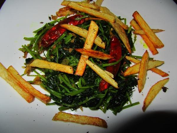 Stir Fried Fenugreek Leaves (मेथीको साग) with Crispy Potato