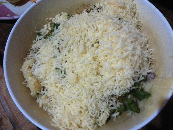 Potato, cheese, and spices mixture
