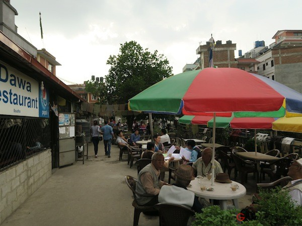 Open space hidden in Boudha with many eateries serving Tibetan and Sherpa food