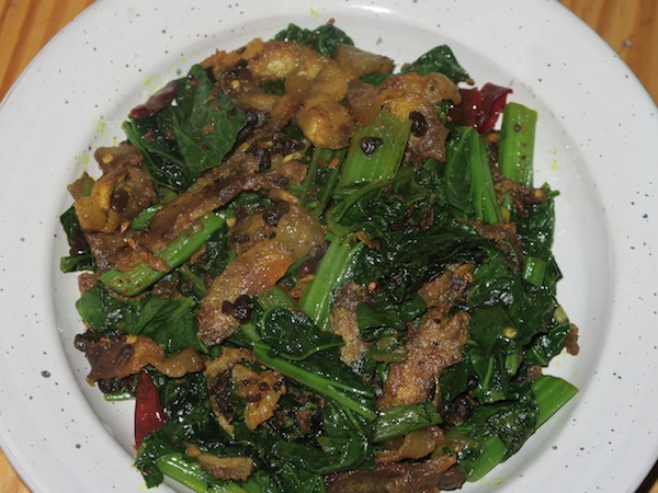 Stir-fried Pork and Mustard Greens (Rayo ko Saag) with Kinema