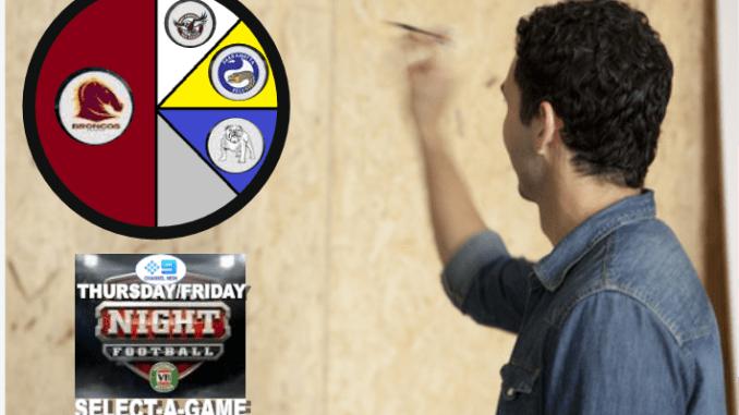Thursday Friday night NRL Draw selector.