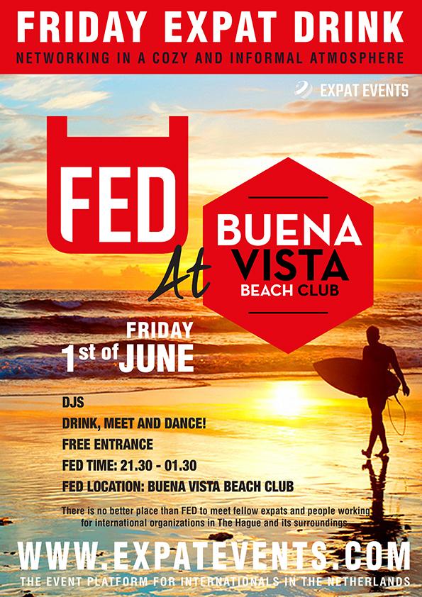 FED 'Friday Expat Drink and Dance at the Beach' @ Buena Vista Beach Club Scheveningen