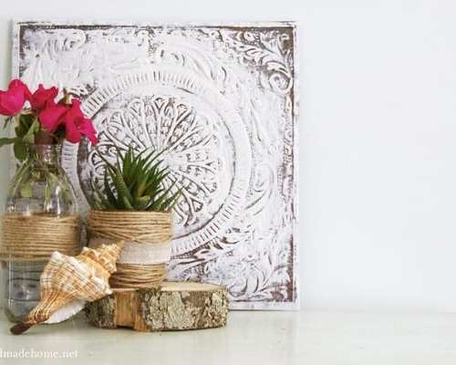 jute wrapped potted plant