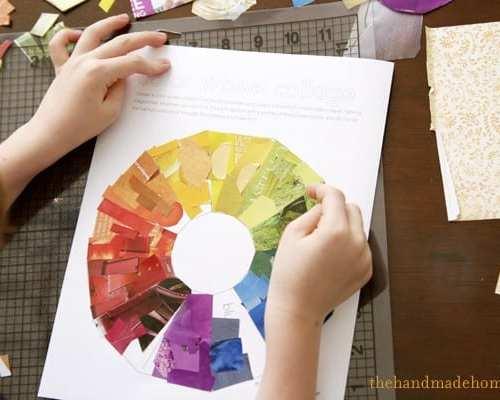 color wheel collage (art lesson)