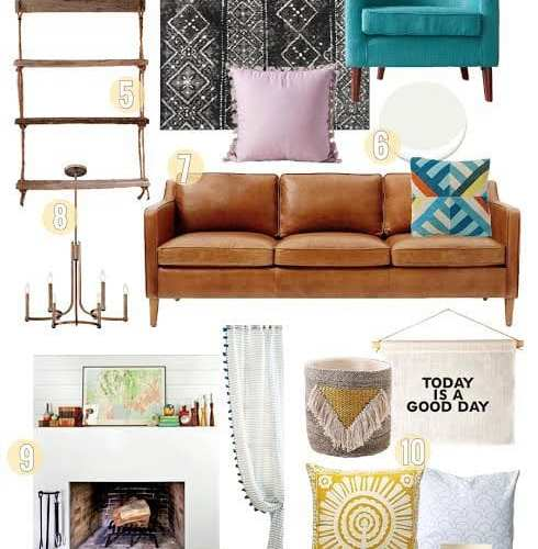 scandinavian farmhouse with bohemian trimmings {a living room design}