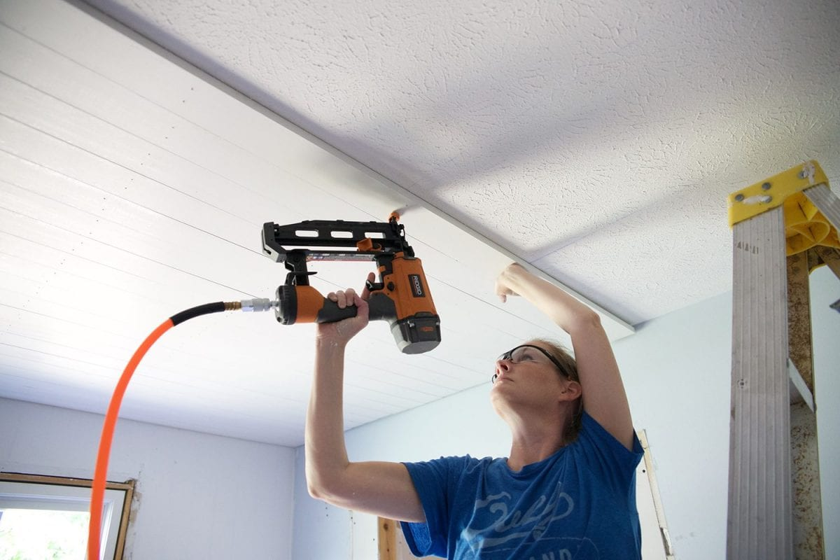 shiplap your ceiling - nailing