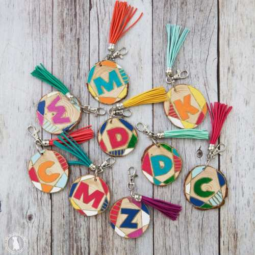 diy wood slice keychains