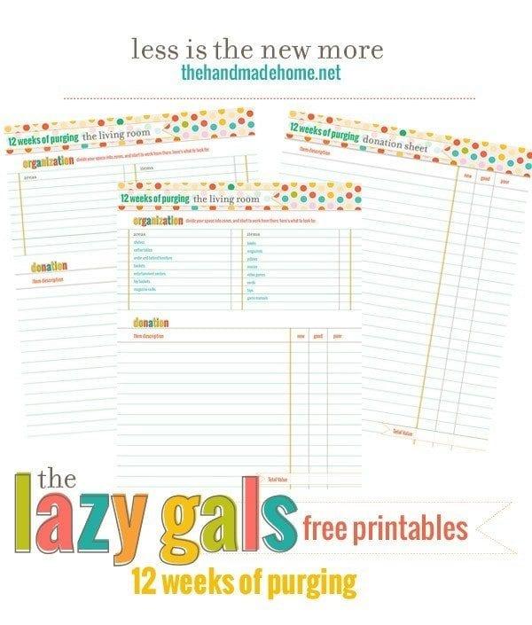 organization around the house - free printables