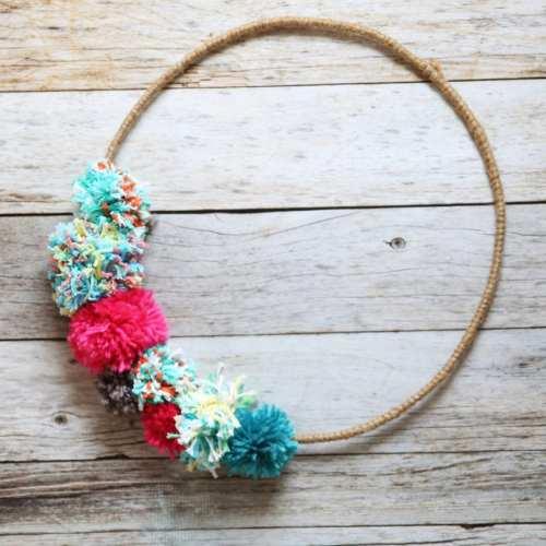 pom pom wreath an easy diy