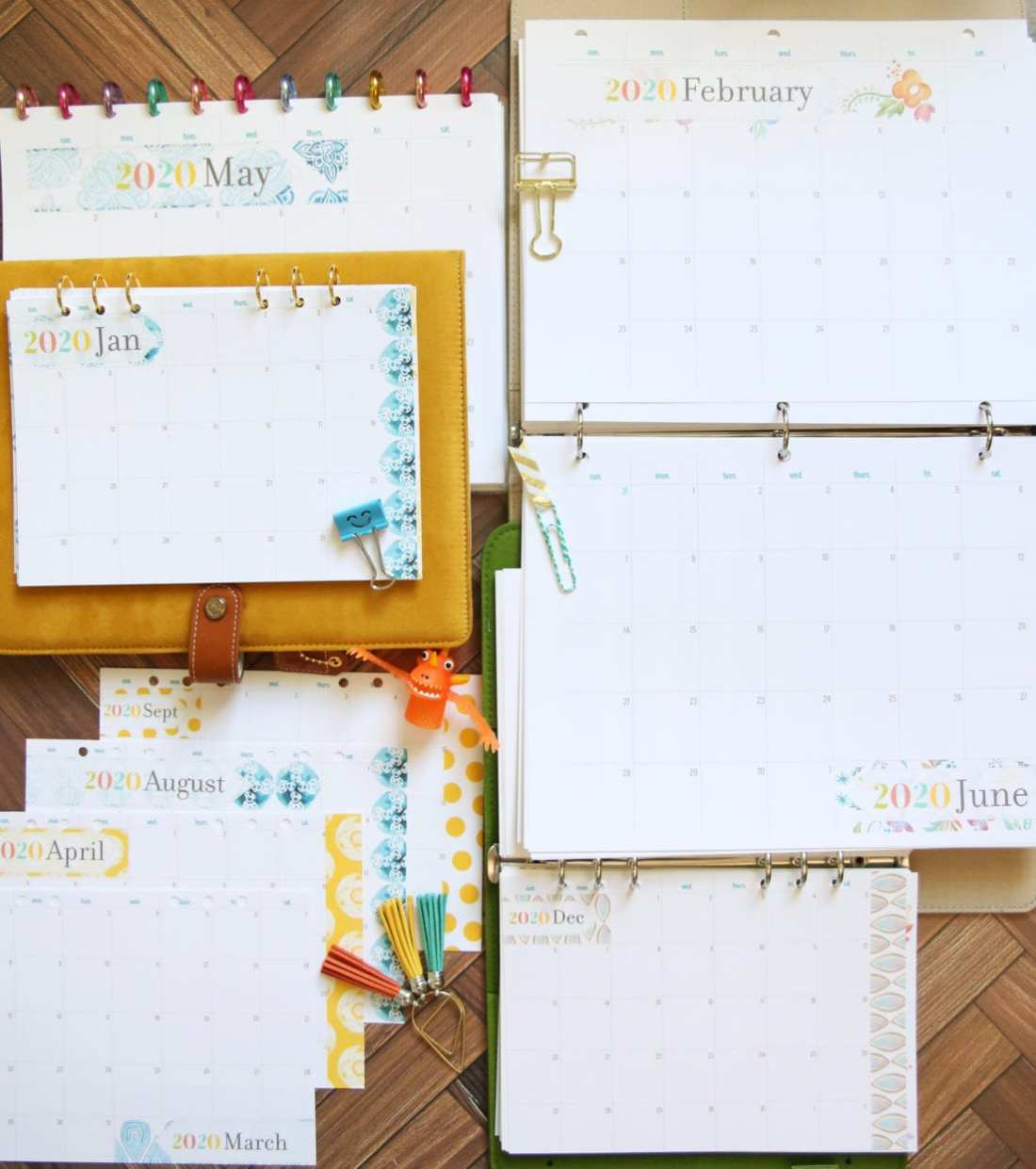 planner month inserts