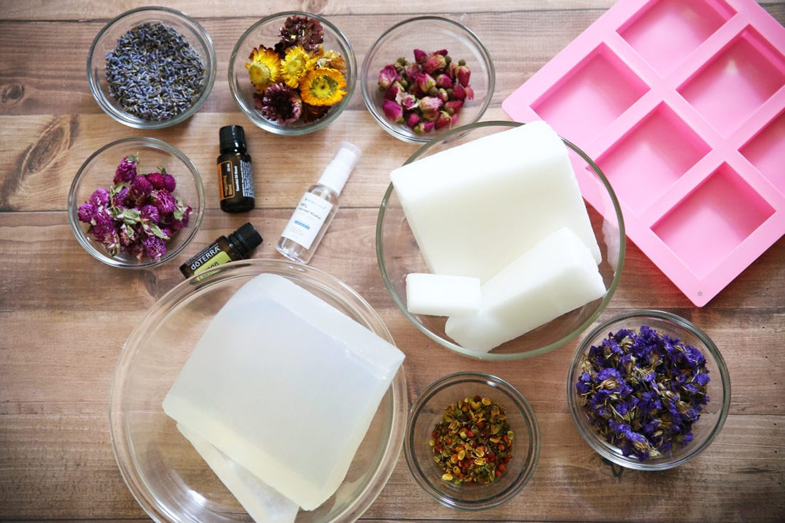 supplies pressed flower soap