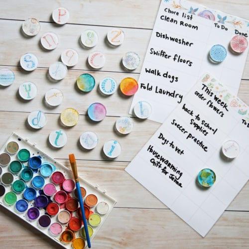 diy watercolor magnets and free chore charts