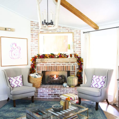 easy fall mantel idea