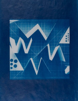 """Lindsey Beal, Commonplace Abstraction #22, Waxed cyanotype on Kozo paper, 11""""x 8.5"""" http://lindseybeal.net"""