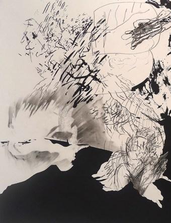 Ryan Cronk (Austin, TX) Undertow #1 Screen print, graphite, ink, and charcoal