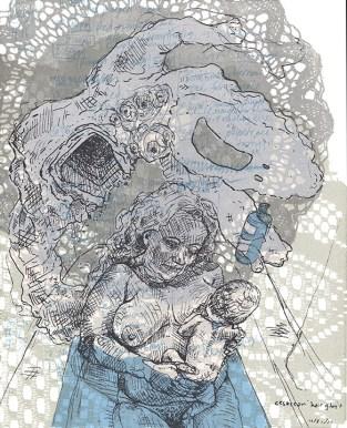 Hannah March Sanders (Cape Girardeau, MO) Cesarean Hair Ghost Screen print