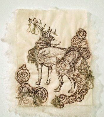 Ani Volkan (Kansas City, MO) Peri Icon Lithography on fabric with embroidery and grandmother's doilies