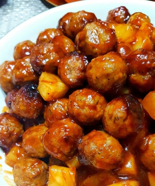 Slow Cooker Pineapple BBQ Meatballs